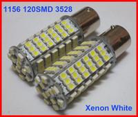 audi a4 xenon leuchten h7 großhandel-60 stücke 1156 P21W BA15S 120SMD 3528 120-LED Rückfahrsignal Leuchtmittel Lampen Xenon Reinweiß / Warmweiß Kann Super Helle 12 V Mischen