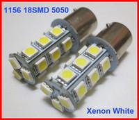 audi a4 xenon leuchten h7 großhandel-120pcs 1156 P21W BA15S 18SMD 5050 18-LED-Endstück-Umdrehungs-Rückseiten-Signal-Licht-Birnen-Lampen Xenon-reines weißes / warmes Weiß kann super helle 12V mischen