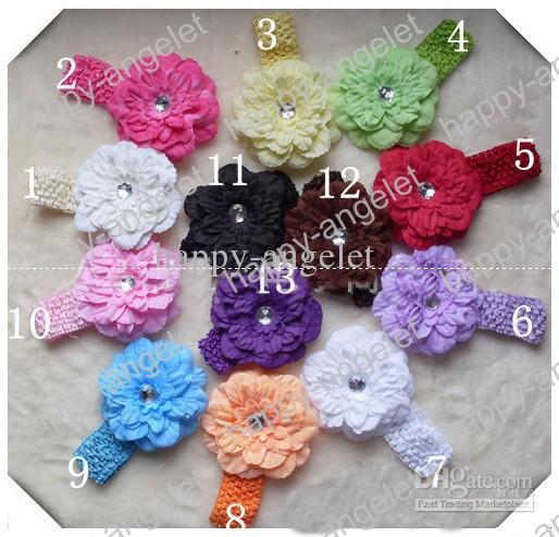 Faixa de Cabelo menina Peony com Crystal clipes macio Flor do bebê Crochet Headband Headwrap Headwear Acessórios GZ7425