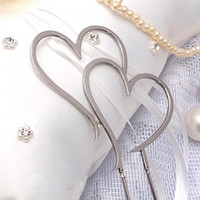 "Wholesale Monogram Cake Topper Metal - Free Shipping--1pcs 11cm (4.5"") Silver Metal Double Heart Monogram Cake Topper Wedding Favors Supplies Cake Accessory"