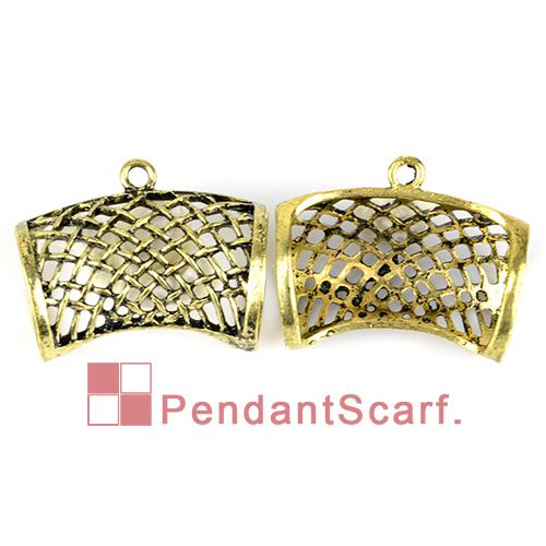 Hot Fashion DIY Jewellery Necklace Scarf Pendant Antique Bronze Zinc Alloy Net Design Slide Tube Bails, AC0198B