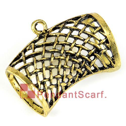 12PCS/LOT, Hot Fashion DIY Jewellery Necklace Scarf Pendant Antique Bronze Zinc Alloy Net Design Slide Tube Bails, Free Shipping, AC0198B