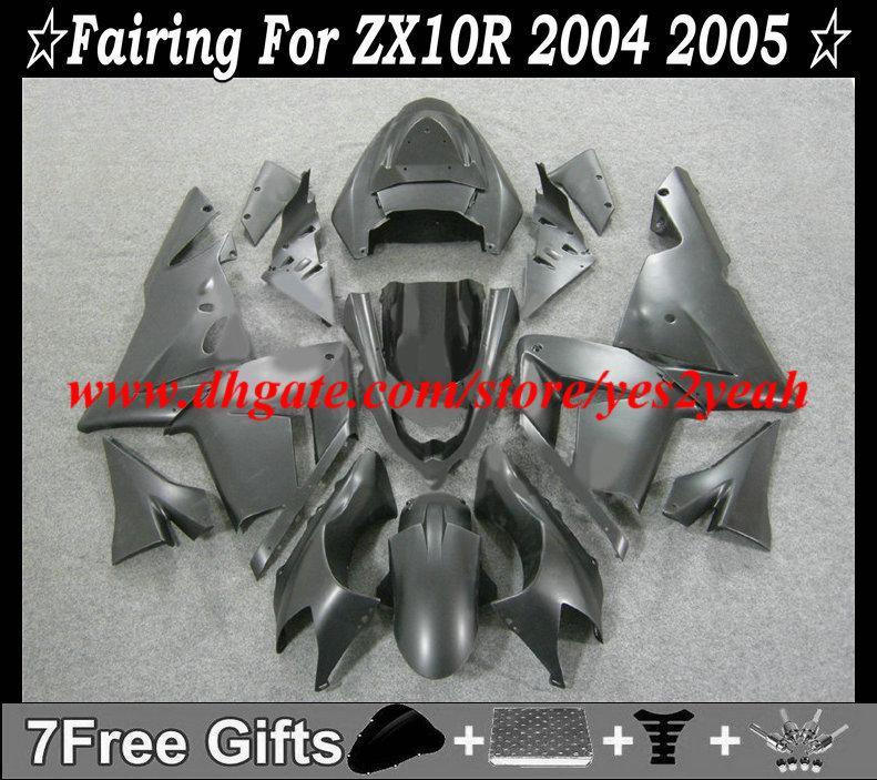 Carrosserieblokket voor Kawasaki Ninja ZX10R 04 05 ZX 10R 2004 2005 ZX-10R Matte Black Fackings Body Kit + Geschenken KM77