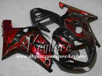Wholesale Suzuki Motorcycle Racing Parts - Free 7 gifts custom race fairing kit for SUZUKI GSX-R600 01 02 03 GSXR 600 2001 2002 2003 K1 fairings G8q red flames black motorcycle parts