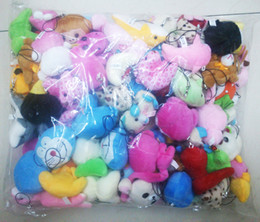 Wholesale Promotion Bags For Gifts - Bulk stuffed animals 100pcs lot Collection Of Plush Animals Various styles package Dolls For Phone Key Bag Pendants Soft Promotion Gifts