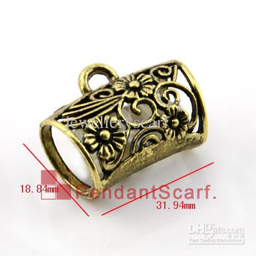 12 PÇS / LOTE, Moda Hot Jóias Colar Cachecol Acessórios de Bronze Antigo Liga de Zinco Fluxo Da Flor Tubo Bail Charme, Frete Grátis, AC0130B