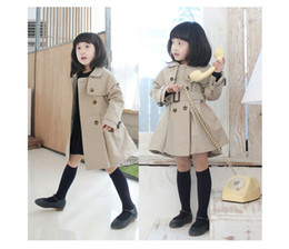 Wholesale Toddlers Trench Coats - Fashion Children's Trench Coat Kids' Wind Coat Girls' Outwear long wind jacket Toddlers' long sleeve Peacoat