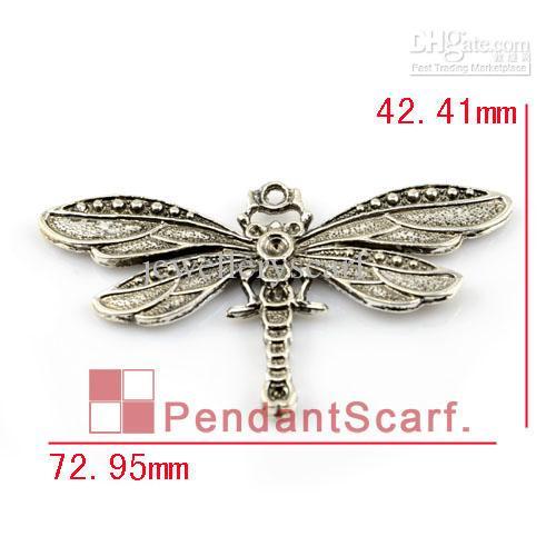 12 pz / lotto, top fashion gioielli fai da te collana sciarpa accessori mentali in lega di zinco forma di libellula pendente di fascino, trasporto libero, ac0129