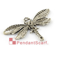 Wholesale Dragonfly Tops - 12PCS LOT, Top Fashion DIY Jewellery Necklace Scarf Accessories Mental Zinc Alloy Dragonfly Shape Charm Pendant, Free Shipping, AC0129