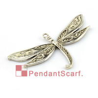 Wholesale Dragonfly Tops - 12PCS LOT, Top Fashion DIY Jewellery Necklace Scarf Findings Accessories Zinc Alloy Dragonfly Pendant Charm, Free Shipping, AC0128