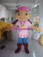 Wholesale Izzy Pirate Costume - 2013 New Adult Size Jake and the Never Land Pirates Mascot Costume Fancy Dress Party Complete Outfit Izzy costume the head with the fan