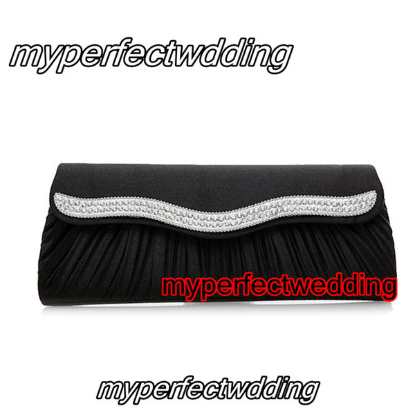 Elegant Black Satin Ruched Crystal Beaded Bridal Hand Bags Wedding Evening Party Event OL Hand Bag