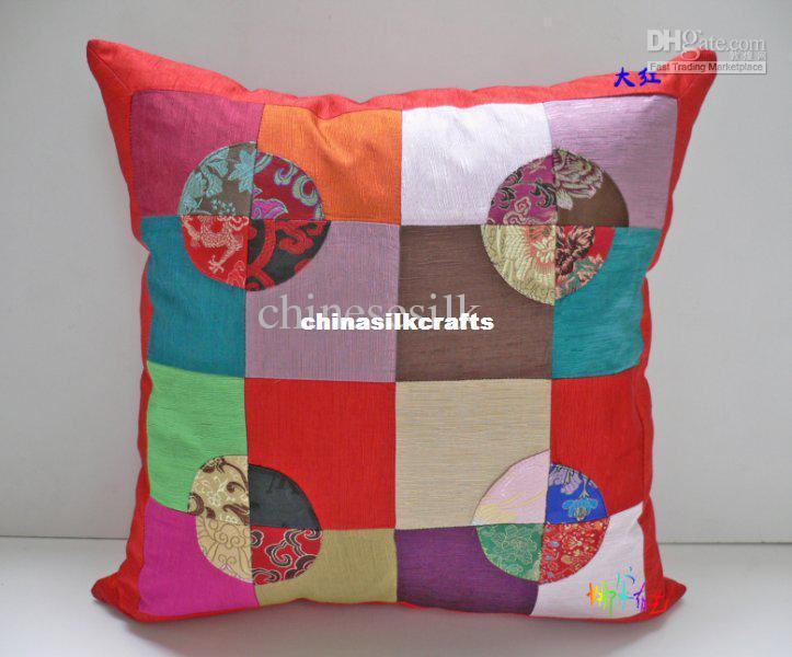 Chinese Handmade Cushion Covers 18 X 18 High End Silk Cotton