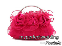 bolso de noche rosa roja al por mayor-Nueva llegada Bolsas Organza Rose Mano nupcial floral de la boda de la tarde del partido del acontecimiento OL del bolso de mano de Marfil Negro Fucsia Rojo Rosa púrpura de plata