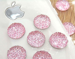 Wholesale Diy Decorations For Iphone - 16MM 300Pcs Round Shape Flat Back Resin beads DIY Decoration Pave Rhinestone Flatback Beads Charms For Iphone