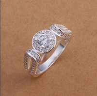 Wholesale 925 Cz Price - Factory price 925 silver inlaid CZ Ring Fashion Jewelry wedding gift free shipping 10pcs lot
