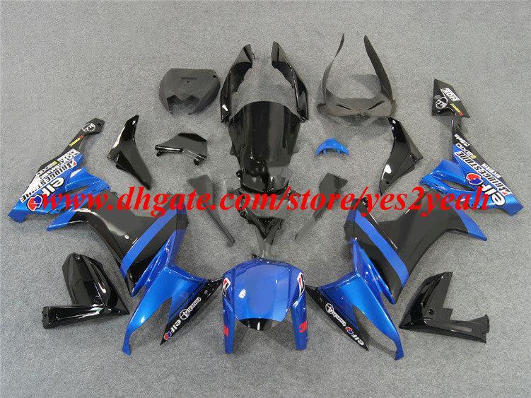 Kit de carénage de moto pour KAWASAKI Ninja ZX10R 08 09 ZX 10R 2008 2009 ZX-10R 08-09 ensemble de carénages bleu noir + 7 cadeaux KQ23