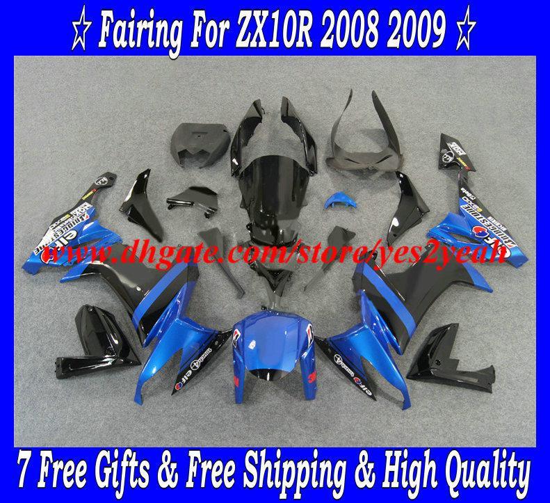 Kit carenatura moto KAWASAKI Ninja ZX10R 08 09 ZX 10R 2008 2009 ZX-10R 08-09 blu nero Set carenature + 7 regali KQ23