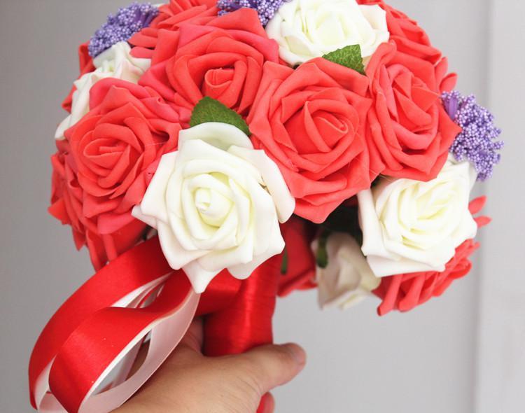 Envío gratis de alta calidad lavanda blanca rosas rojas floral nupcial boda boda boda noche fiesta hechos a mano flores