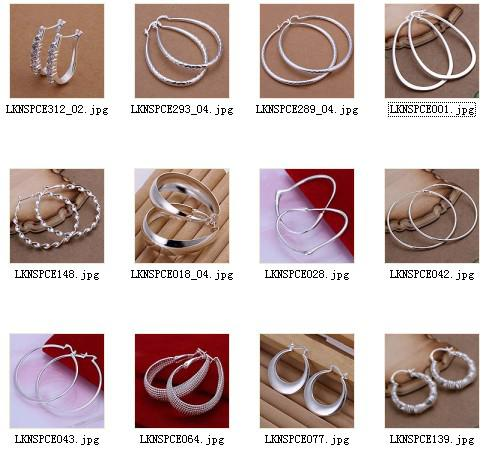 top popular Mixed Order high quality 925 silver hoop earrings fashion jewelry for women free shipping 12pair lot 2021