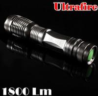 Wholesale E5 Led - Free DHL,30PCS High power 1800 Lumen Zoomable CREE XM-L T6 LED 18650 Flashlight Torch Zoom Lamp Light E5 silver color