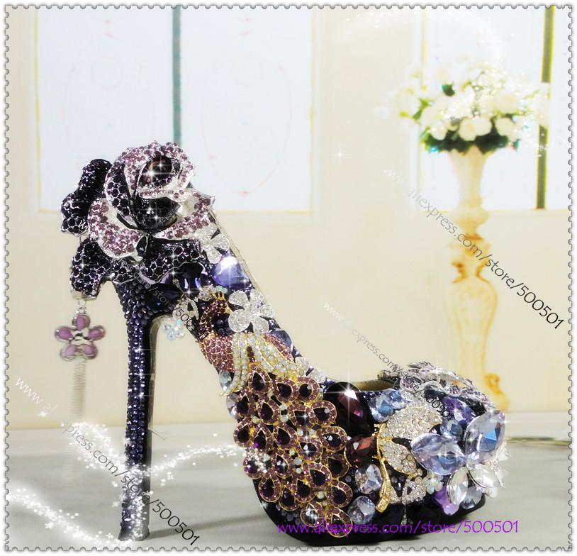 Luxury Purple And Gold Heels Handmade Grace Violet Wedding Shoes ...