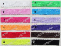Wholesale shimmer headbands - free shipping 60pcs 12Colors rose elastic lace headband Baby flexible Shimmery Shimmer Satin Stretchy hair accessory FD6517