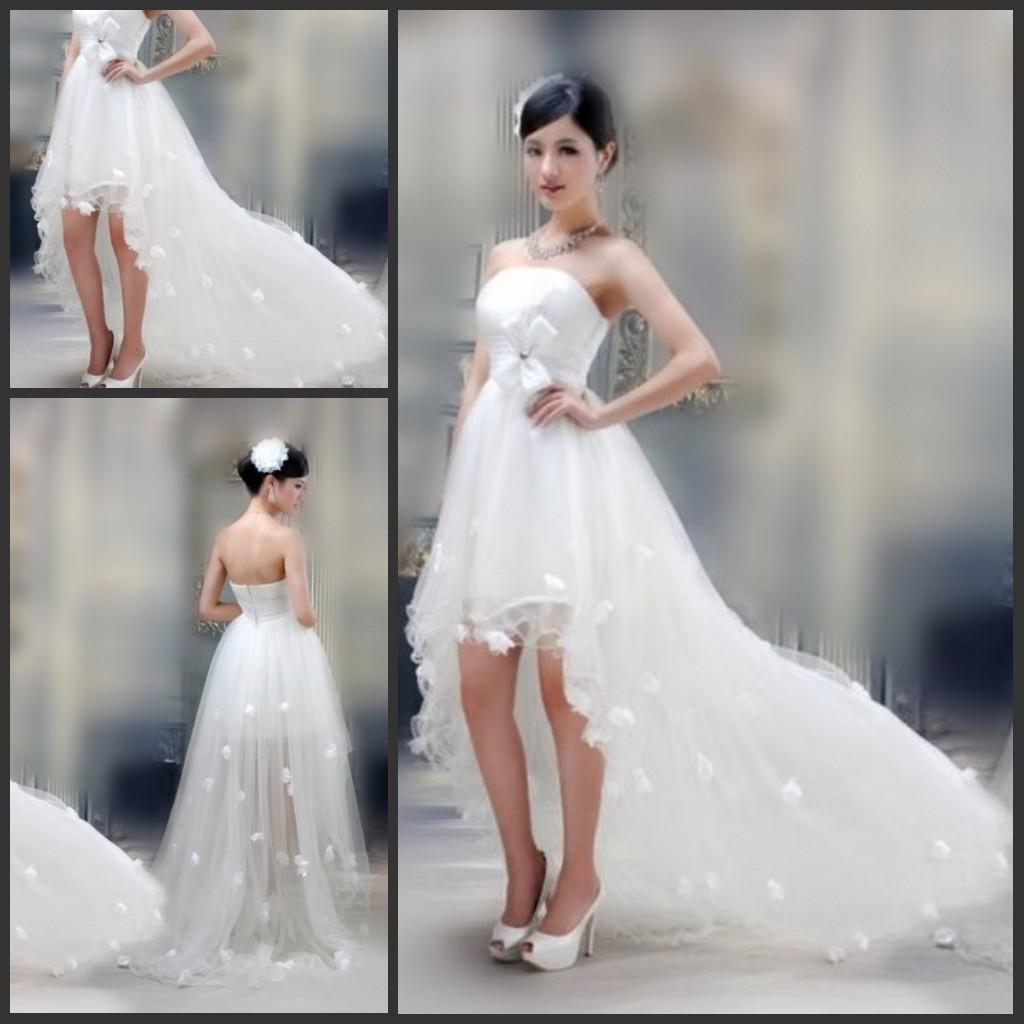 Simple Summer Wedding Dresses Strapless White Tulle Hi Low Bridal ...