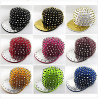 Wholesale Spike Baseball Hats - 12 colors Punk Hip-hop Spikes Rivets Spiked SnapBack baseball hat Studded Cap Adjustable top sale free shipping