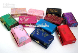 Wholesale Lip Balm Case Wholesalers - Double Lipstick Case with Mirror Large Lip Balm Tubes Containers Silk Fabric Lip gloss Packaging Boxes 12pcs lot mix color Free shipping