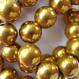 Wholesale Shamballa Gold Plated Beads - 6mm 8mm 10mm 12mm Gold Plated Round Magnetic Hematite Beads for Shamballa Bracelets Loose Beads 400PCS Free shipping