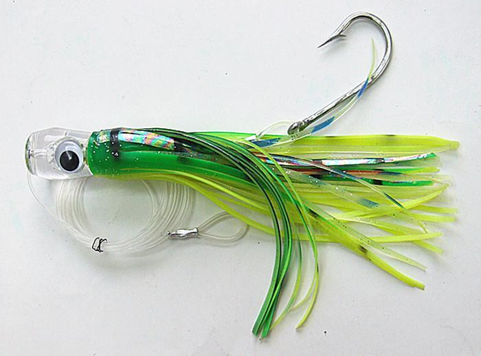 Leurre de pêche Soft Bait Game Leurres de pêche à la traîne Tête de résine double jupe Octopus avec ligne de crochet Deux taille 8,5