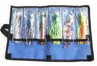 "Wholesale Saltwater Lures Heads - Fishing Lure Soft Bait Game Trolling lures Fishing tackle resin head double Octopus Skirt with Hook Line Two size 8.5"" 6.5"" 6 pieces suit"