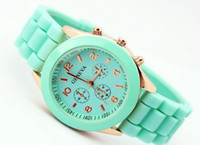 Wholesale Silicone Watches Mint Color - Mint green geneva Watch Jelly Watch Three circles Display Silicone Strap Candy Color Unisex Rubber Girls Ladies Women watches