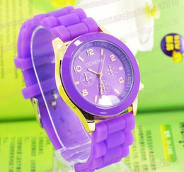 Wholesale Unisex Geneva Silicone - DHL free shipping Shadow style geneva watch new rubber candy jelly fashion unisex silicone quartz watches 100pcs