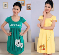Wholesale Outing Dresses - Summer outing summer fashion maternity dress Maternity Nursing Wear cotton clothes month of breastfeeding skirt