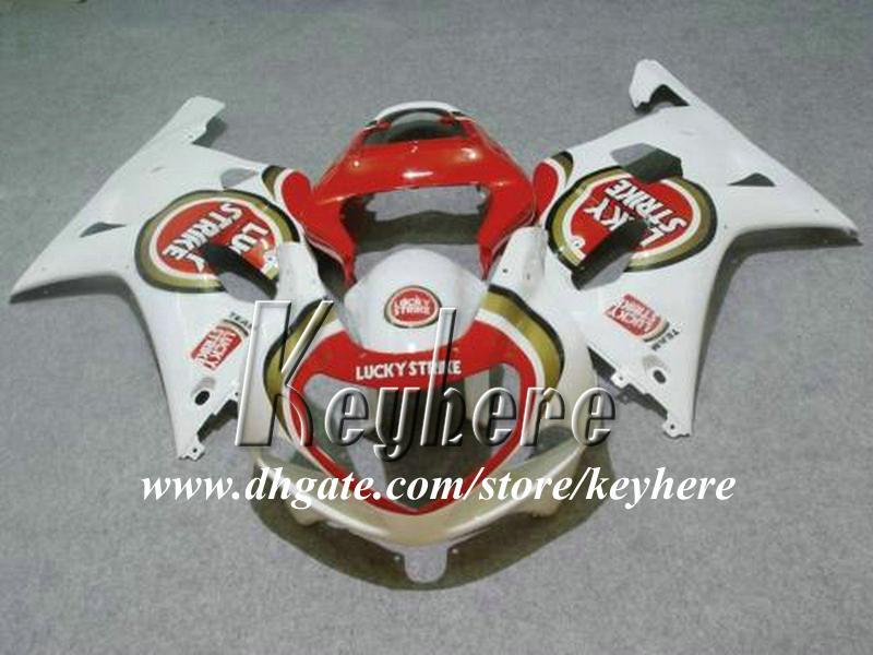 مجموعة هدايا مجانية من 7 هدايا مخصصة لسباق سوزوكي GSX-R750 01 02 03 GSXR 750 2001 2002 2003 K1 fairings G6t red lucky strike parts