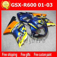 Wholesale Suzuki Motorcycle Racing Parts - Free 7 gifts custom race fairing kit for SUZUKI GSX-R600 01 02 03 GSXR 600 2001 2002 2003 K1 fairings G7q new Movistar blue motorcycle parts