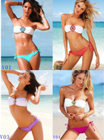 Wholesale Crystal Padded Bikinis - Sexy Woman & Lady Swmsuit Biniki Set Fashion CZ Disco Crystal Diamond Padded Top Swimwear 4 color 3 Size S M L