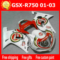 Wholesale Suzuki Motorcycle Racing Parts - Free 7 gifts custom race fairing kit for SUZUKI GSX-R750 01 02 03 GSXR 750 2001 2002 2003 K1 fairings G6t red LUCKY STRIKE motorcycle parts