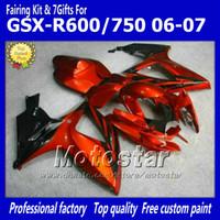 Wholesale Suzuki Gsxr Fairing Orange K6 - 7 Gifts injection molding fairings set for SUZUKI 2006 2007 GSXR 600 750 K6 GSXR600 GSXR750 06 07 R600 R750 orange red black ABS fairing ff5