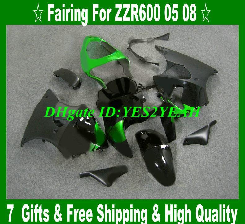 Kit de carénage par injection pour KAWASAKI Ninja ZZR600 05 06 07 08 ZZR600 2005 2008 ZZR 600 noir brillant Kit carrosseries KZ50