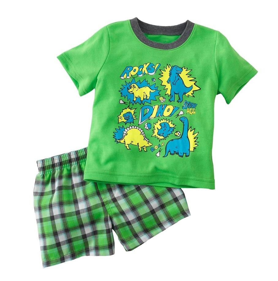 2017 Boys Pajamas Summer Suits Short Tracksuits Sets Kids T Shirts ...