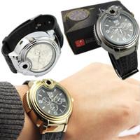daha hafif saatler toptan satış-Lüks Tasarım Çakmak Alev İzle Metal Çakmak Gaz İşlevli Yaratıcı Hediye Erkek erkek Perakende Ambalaj ile Saatler Çakmak Saatler