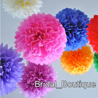 """Wholesale Chinese Paper Balls - Free Shipping Handmade Flowers Colorful Tissue Paper Flower Ball Tissue Paper Pom Poms Wedding Party Decoration 35cm 14"""""""