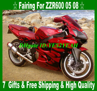 Wholesale Kawasaki Zzr Red - Fairing kit for KAWASAKI Ninja ZZR600 05 06 07 08 ZZR600 2005 2008 ZZR 600 Black flames red Fairings body kit KZ73
