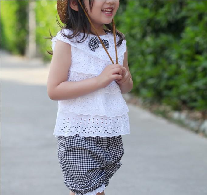 Nouveau Style filles d'été vêtements évider poupée col haut gilet + grille shorts sport enfants ensemble 2-5 ans bébé costumes XR175