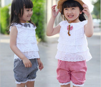 Wholesale Short Black Baby Doll - New Style summer girls clothing hollow out doll neck top vest + grid shorts sport 2pcs kids set 2-5Year baby suits XR175