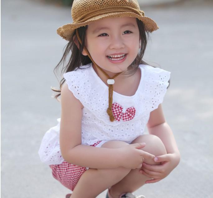 Neue Stil Sommer Mädchen Kleidung auszuhöhlen Puppe Hals Top Weste + Gitter Shorts Sport Kinder 2-5Year Baby Anzüge XR175