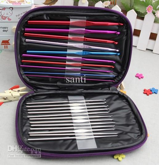 Craft Case Aluminum Crochet Hooks Needles Knit Weave Stitches Knitting